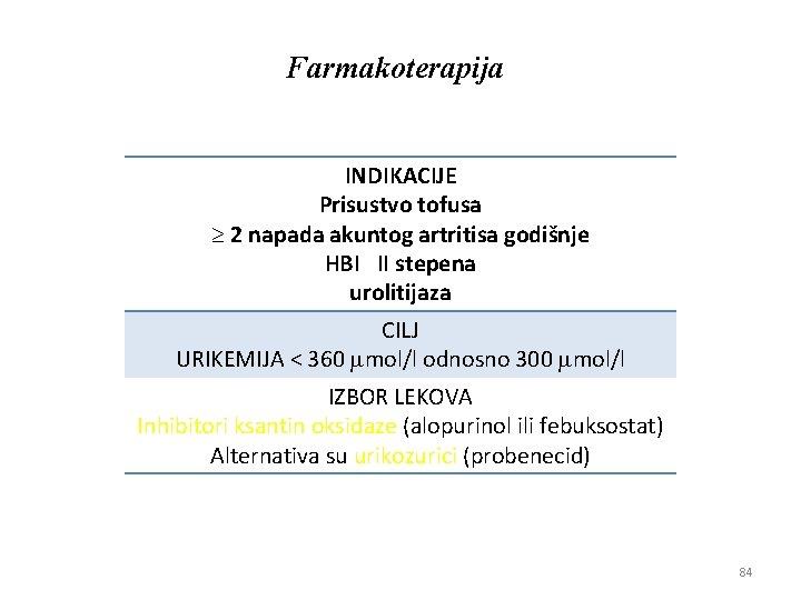 Farmakoterapija INDIKACIJE Prisustvo tofusa 2 napada akuntog artritisa godišnje HBI II stepena urolitijaza CILJ