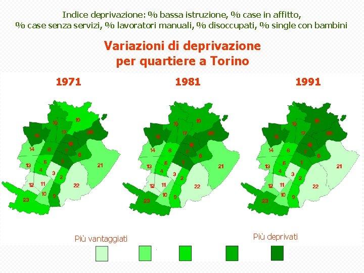 Indice deprivazione: % bassa istruzione, % case in affitto, % case senza servizi, %