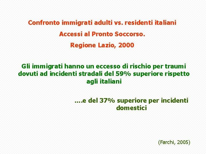 Confronto immigrati adulti vs. residenti italiani Accessi al Pronto Soccorso. Regione Lazio, 2000 Gli