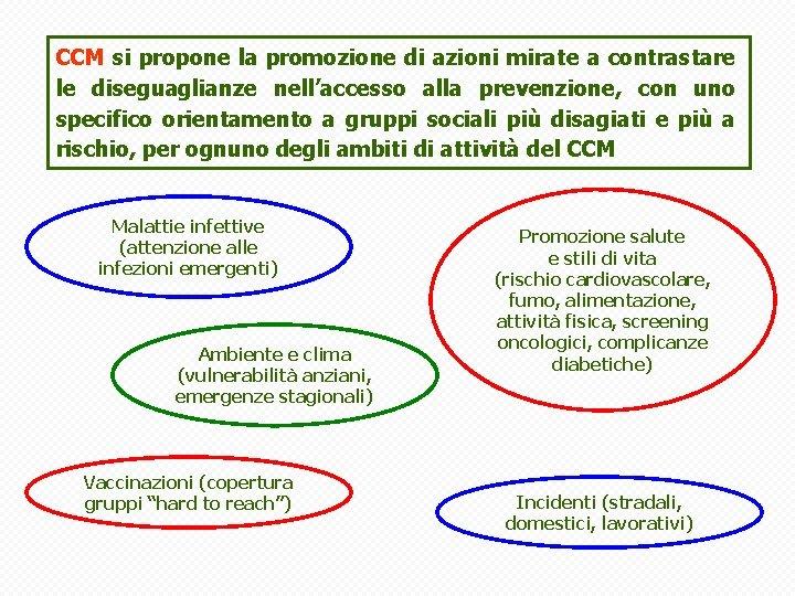 CCM si propone la promozione di azioni mirate a contrastare le diseguaglianze nell'accesso alla