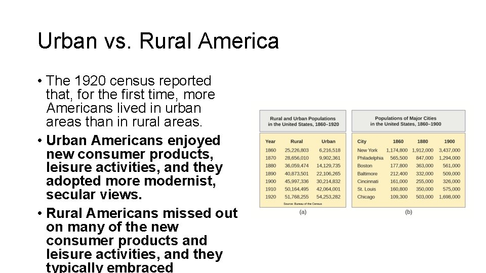 Urban vs. Rural America • The 1920 census reported that, for the first time,