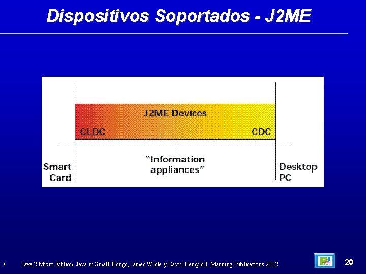 Dispositivos Soportados - J 2 ME • Java 2 Micro Edition: Java in Small