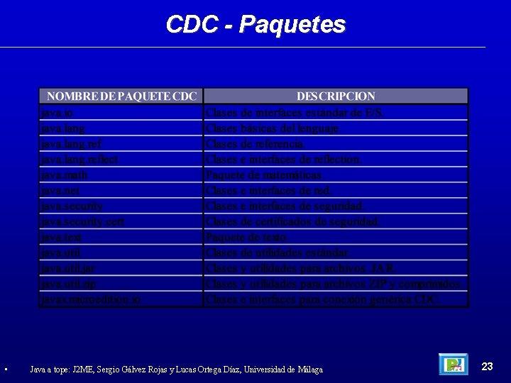CDC - Paquetes • Java a tope: J 2 ME, Sergio Gálvez Rojas y
