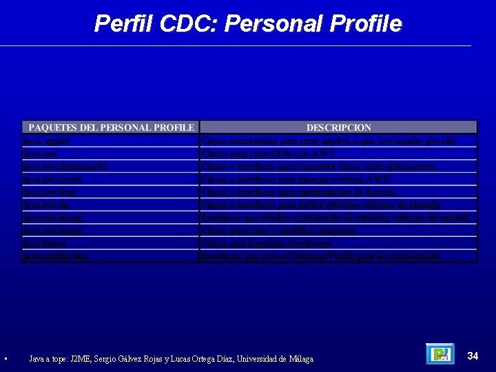 Perfil CDC: Personal Profile • Java a tope: J 2 ME, Sergio Gálvez Rojas