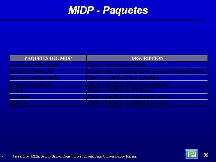 MIDP - Paquetes • Java a tope: J 2 ME, Sergio Gálvez Rojas y