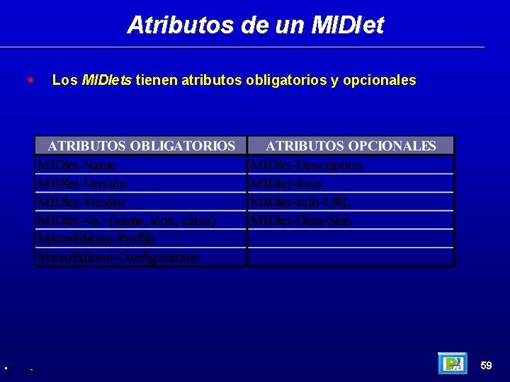Atributos de un MIDlet • - Los MIDlets tienen atributos obligatorios y opcionales 59