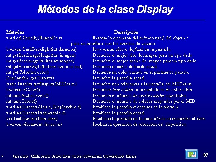 Métodos de la clase Display Métodos void call. Serially(Runnable r) Descripción Retrasa la ejecución