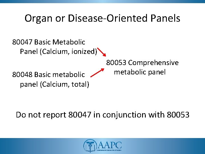 Organ or Disease-Oriented Panels 80047 Basic Metabolic Panel (Calcium, ionized) 80048 Basic metabolic panel
