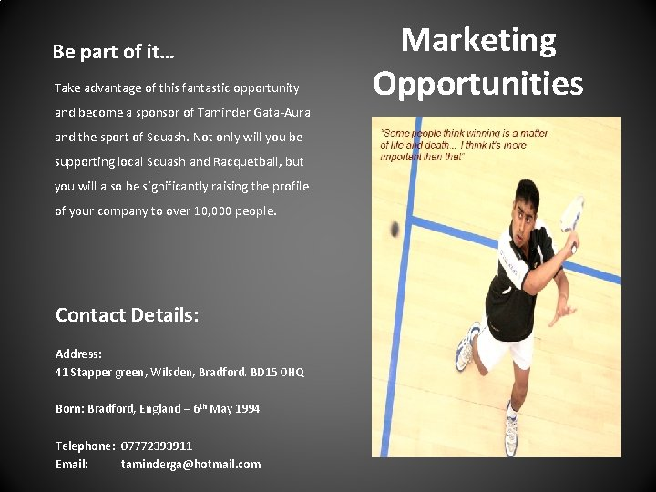 Be part of it… Take advantage of this fantastic opportunity and become a sponsor
