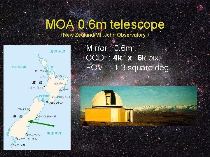 MOA 0. 6 m telescope (New Zealand/Mt. John Observatory ) Mirror : 0. 6
