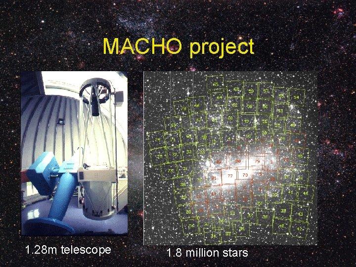 MACHO project 1. 28 m telescope 1. 8 million stars