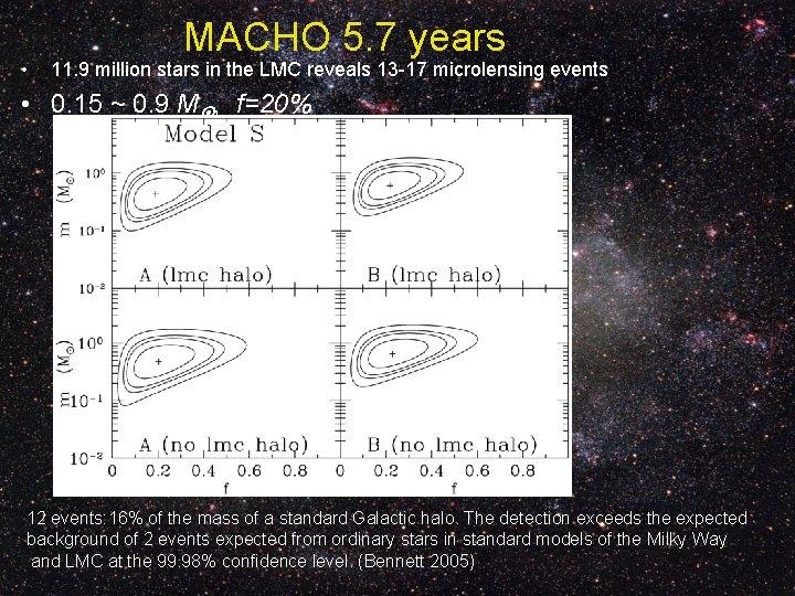 • MACHO 5. 7 years 11. 9 million stars in the LMC reveals