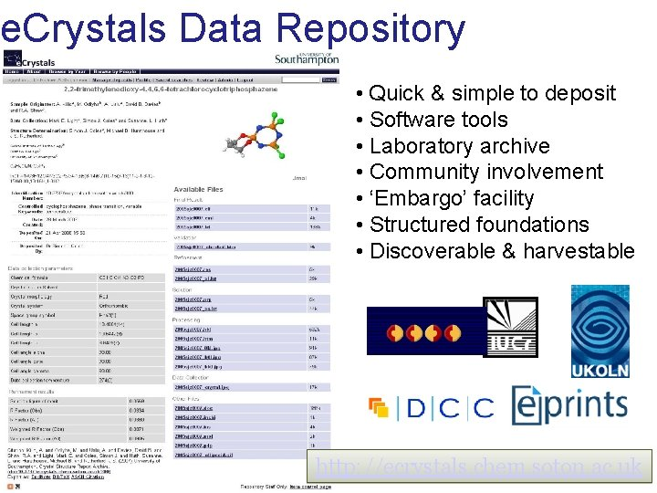 e. Crystals Data Repository • Quick & simple to deposit • Software tools •