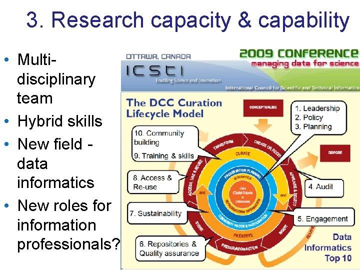 3. Research capacity & capability • Multidisciplinary team • Hybrid skills • New field