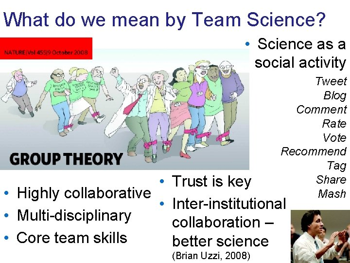 What do we mean by Team Science? • Science as a social activity Tweet