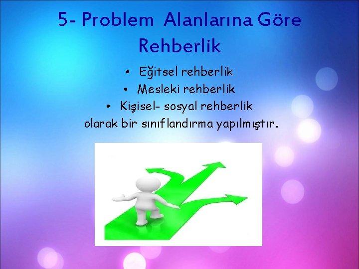 5 - Problem Alanlarına Göre Rehberlik • Eğitsel rehberlik • Mesleki rehberlik • Kişisel-