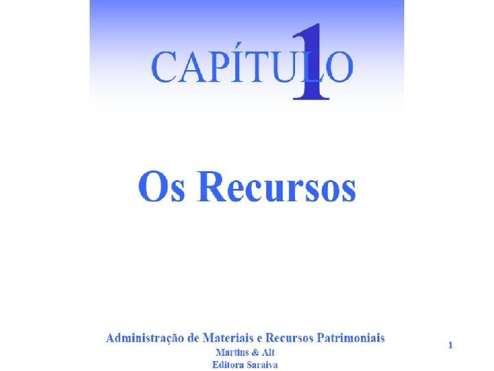 Administração de Materiais e Recursos Patrimoniais Martins & Alt Editora Saraiva 1 Os Recursos.