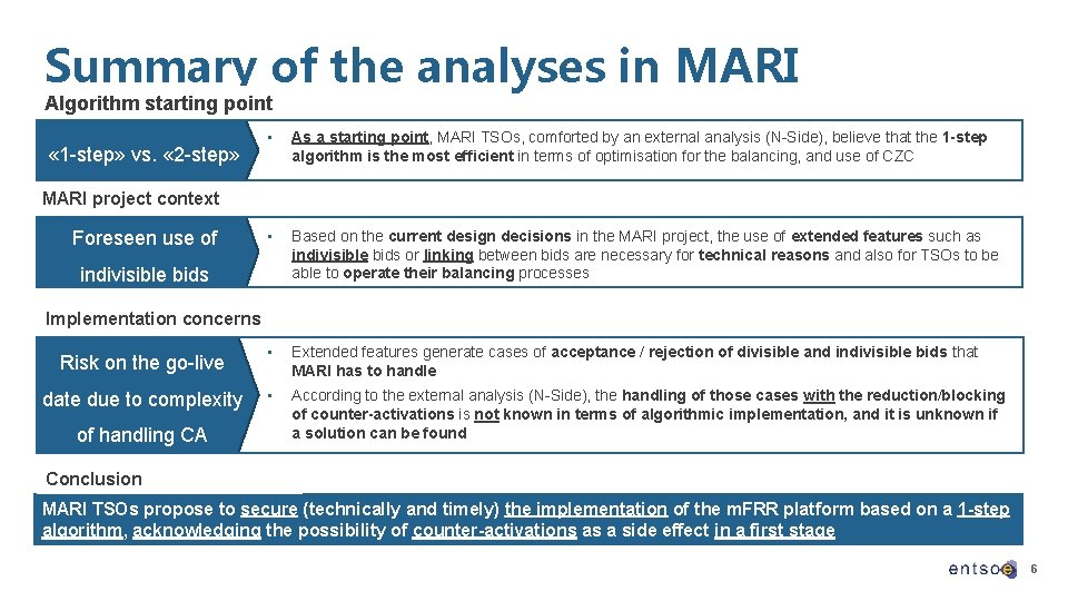 Summary of the analyses in MARI Algorithm starting point « 1 -step» vs. «