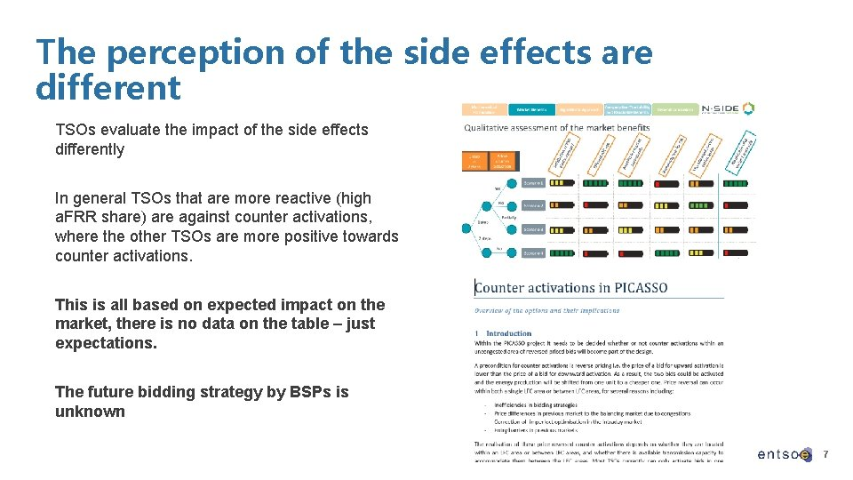 The perception of the side effects are different TSOs evaluate the impact of the