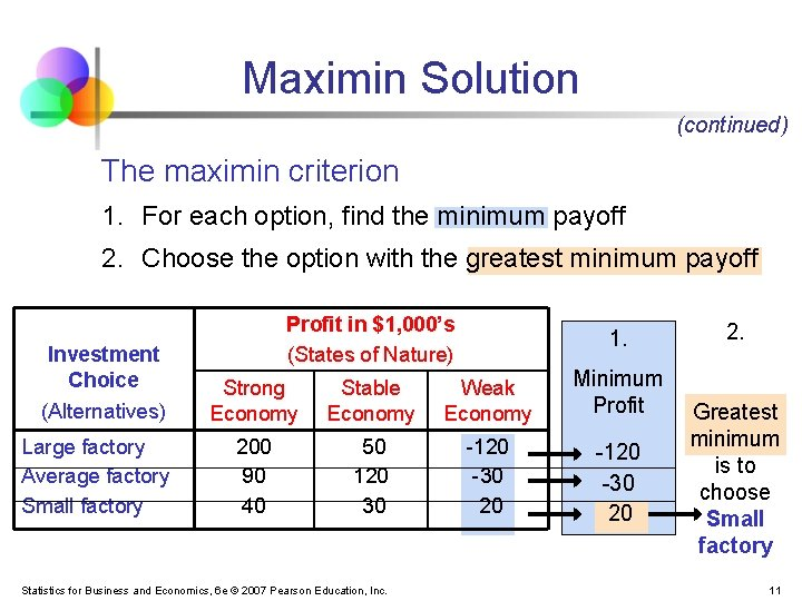 Maximin Solution (continued) The maximin criterion 1. For each option, find the minimum payoff