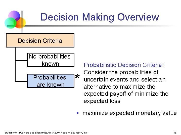 Decision Making Overview Decision Criteria No probabilities known Probabilities are known * Probabilistic Decision
