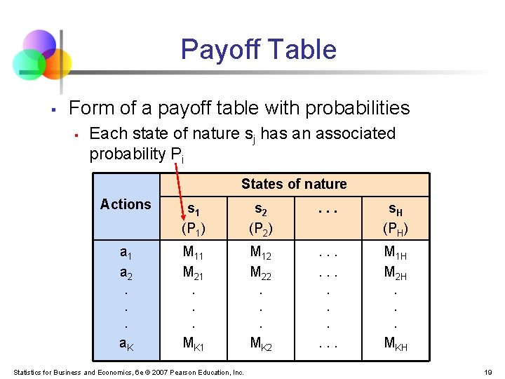 Payoff Table § Form of a payoff table with probabilities § Each state of