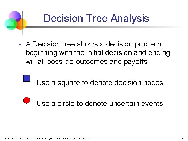 Decision Tree Analysis § A Decision tree shows a decision problem, beginning with the