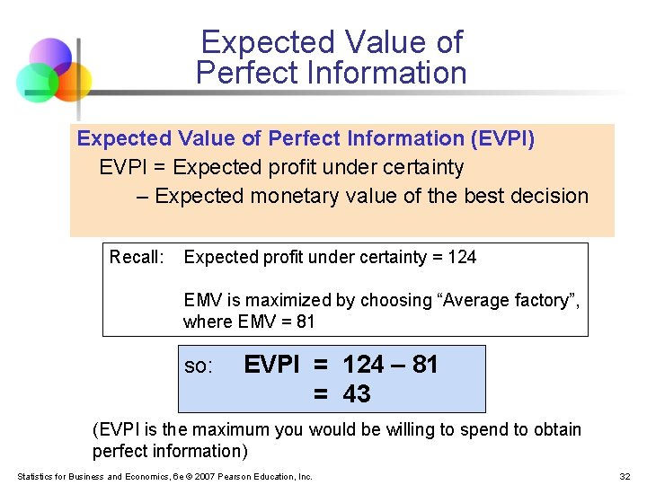 Expected Value of Perfect Information (EVPI) EVPI = Expected profit under certainty – Expected