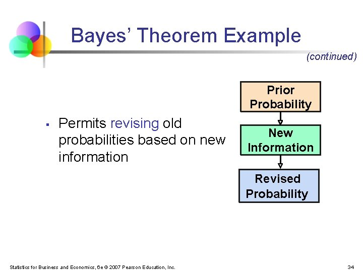 Bayes' Theorem Example (continued) Prior Probability § Permits revising old probabilities based on new