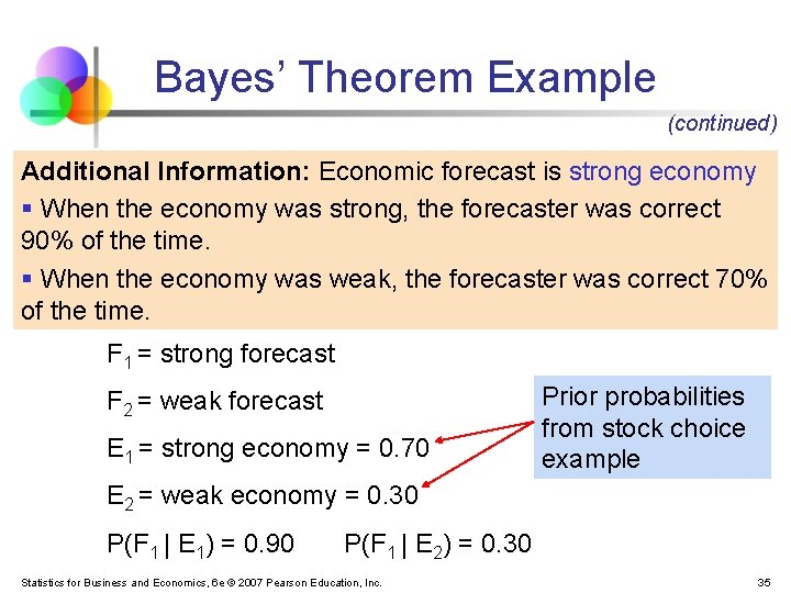 Bayes' Theorem Example (continued) Additional Information: Economic forecast is strong economy § When the