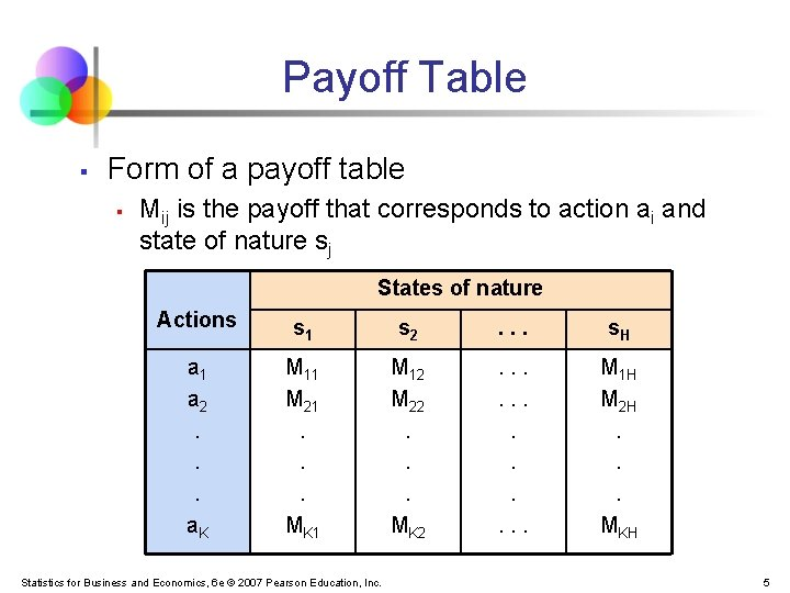 Payoff Table § Form of a payoff table § Mij is the payoff that