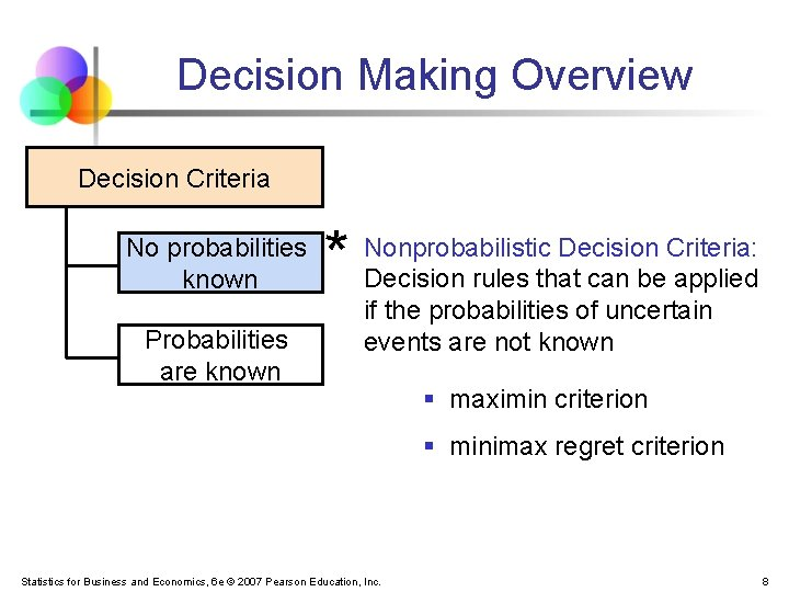 Decision Making Overview Decision Criteria No probabilities known Probabilities are known * Nonprobabilistic Decision