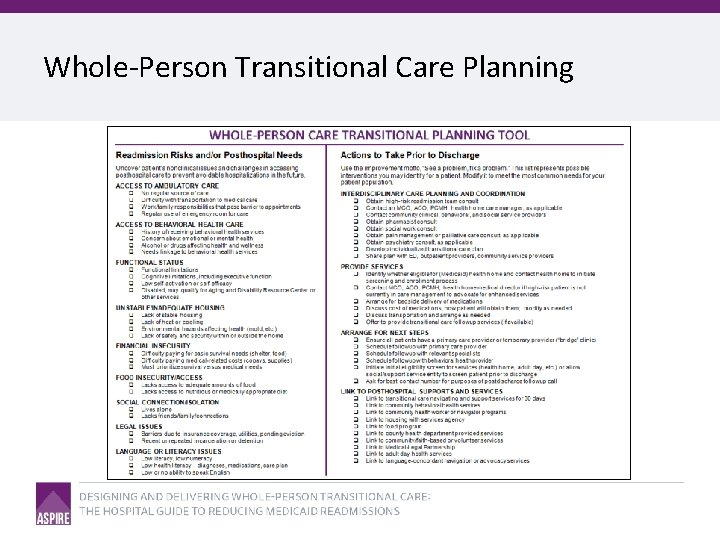 Whole-Person Transitional Care Planning