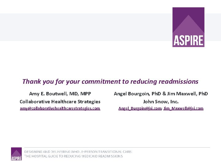 Thank you for your commitment to reducing readmissions Amy E. Boutwell, MD, MPP Collaborative
