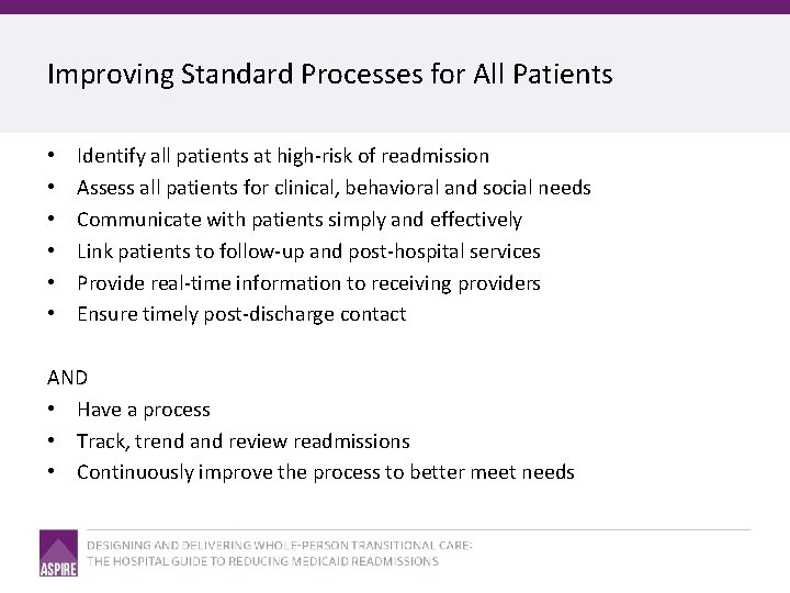 Improving Standard Processes for All Patients • • • Identify all patients at high-risk
