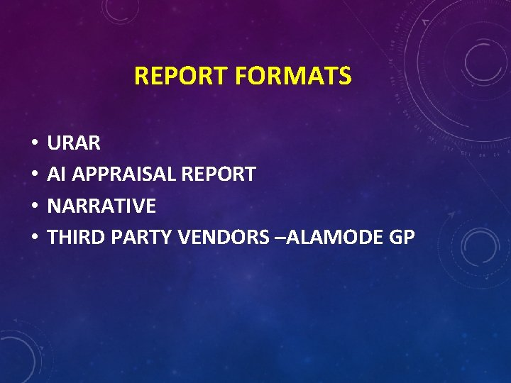 REPORT FORMATS • • URAR AI APPRAISAL REPORT NARRATIVE THIRD PARTY VENDORS –ALAMODE GP