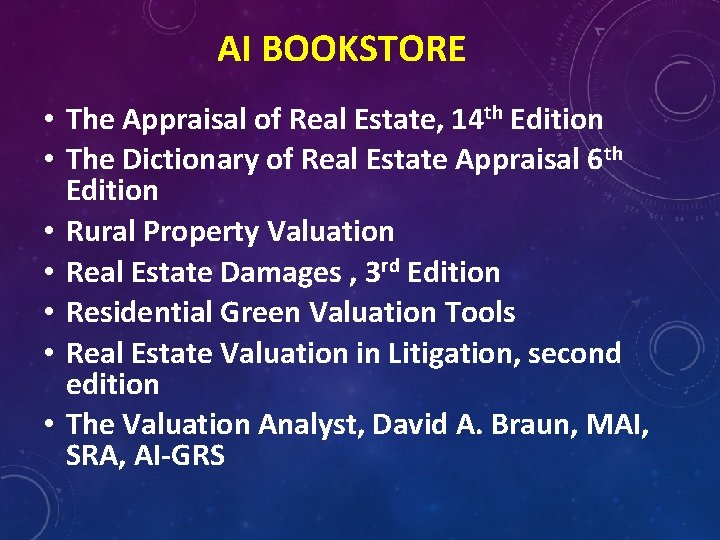 AI BOOKSTORE • The Appraisal of Real Estate, 14 th Edition • The Dictionary