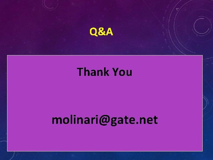 Q&A Thank You molinari@gate. net