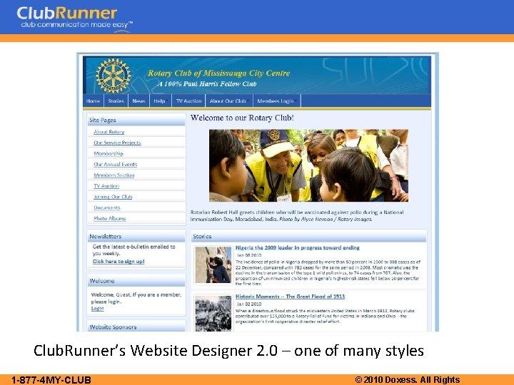 Club. Runner's Website Designer 2. 0 – one of many styles 1 -877 -4