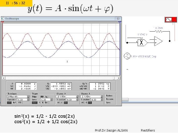 : sin 2(x) = 1/2 - 1/2 cos(2 x) cos 2(x) = 1/2 +