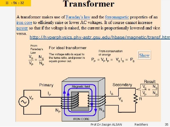 http: //hyperphysics. phy-astr. gsu. edu/hbase/magnetic/transf. htm Prof. Dr. Sezgin ALSAN Rectifiers 35