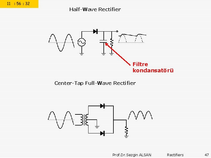 Half-Wave Rectifier Filtre kondansatörü Center-Tap Full-Wave Rectifier Prof. Dr. Sezgin ALSAN Rectifiers 47