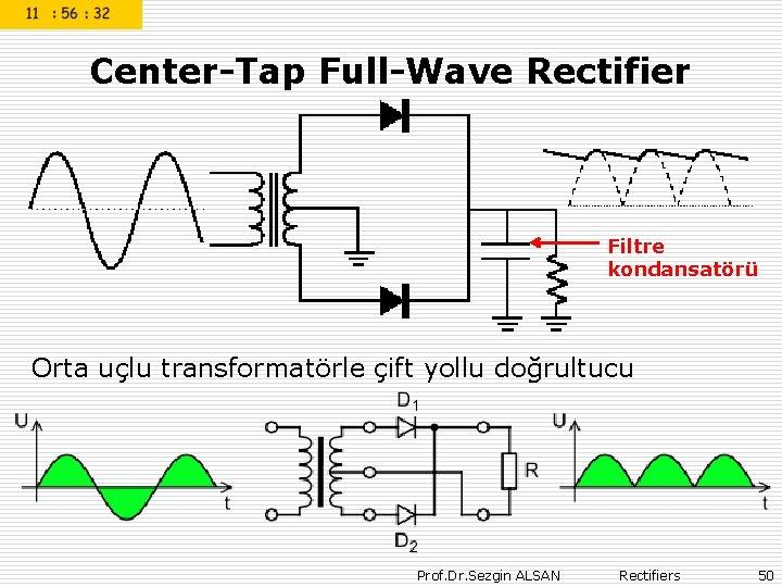 Center-Tap Full-Wave Rectifier Filtre kondansatörü Orta uçlu transformatörle çift yollu doğrultucu Prof. Dr.