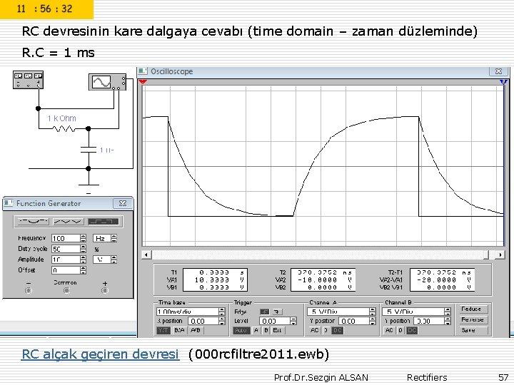 RC devresinin kare dalgaya cevabı (time domain – zaman düzleminde) R. C = 1