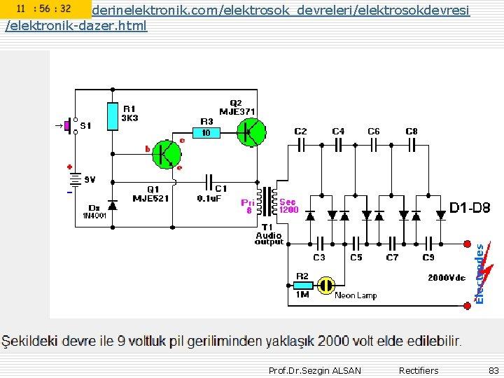 http: //www. derinelektronik. com/elektrosok_devreleri/elektrosokdevresi /elektronik-dazer. html Prof. Dr. Sezgin ALSAN Rectifiers 83