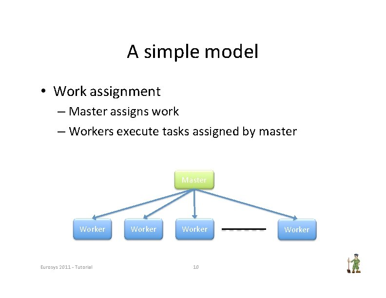 A simple model • Work assignment – Master assigns work – Workers execute tasks