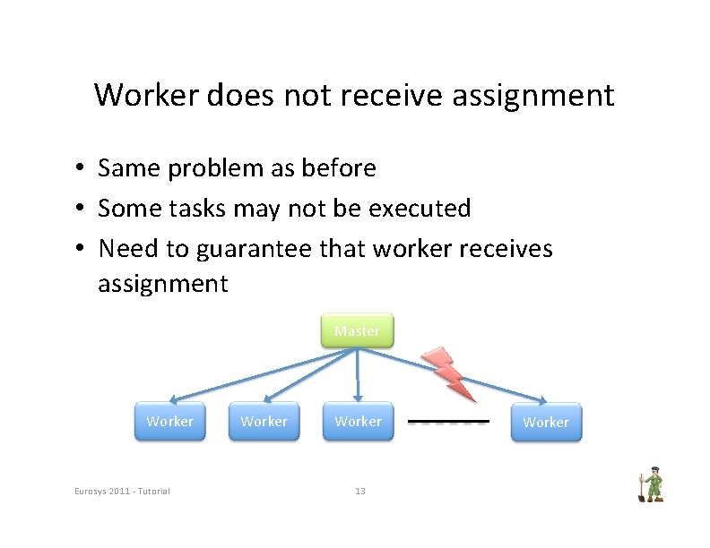 Worker does not receive assignment • Same problem as before • Some tasks may