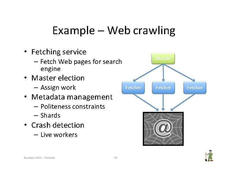 Example – Web crawling • Fetching service Master – Fetch Web pages for search