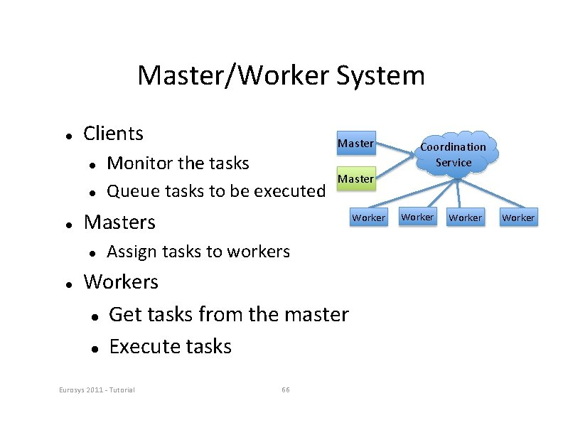 Master/Worker System Clients Worker Assign tasks to workers Workers Get tasks from the master