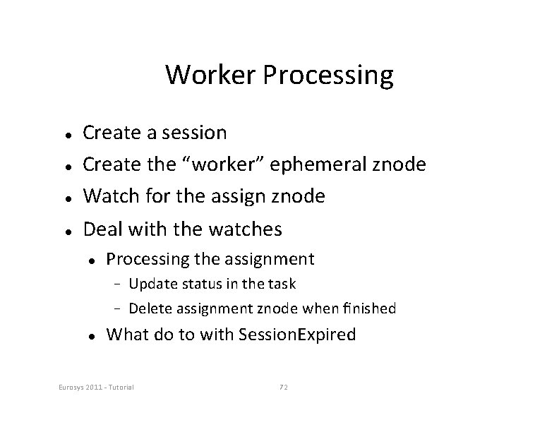 """Worker Processing Create a session Create the """"worker"""" ephemeral znode Watch for the assign"""
